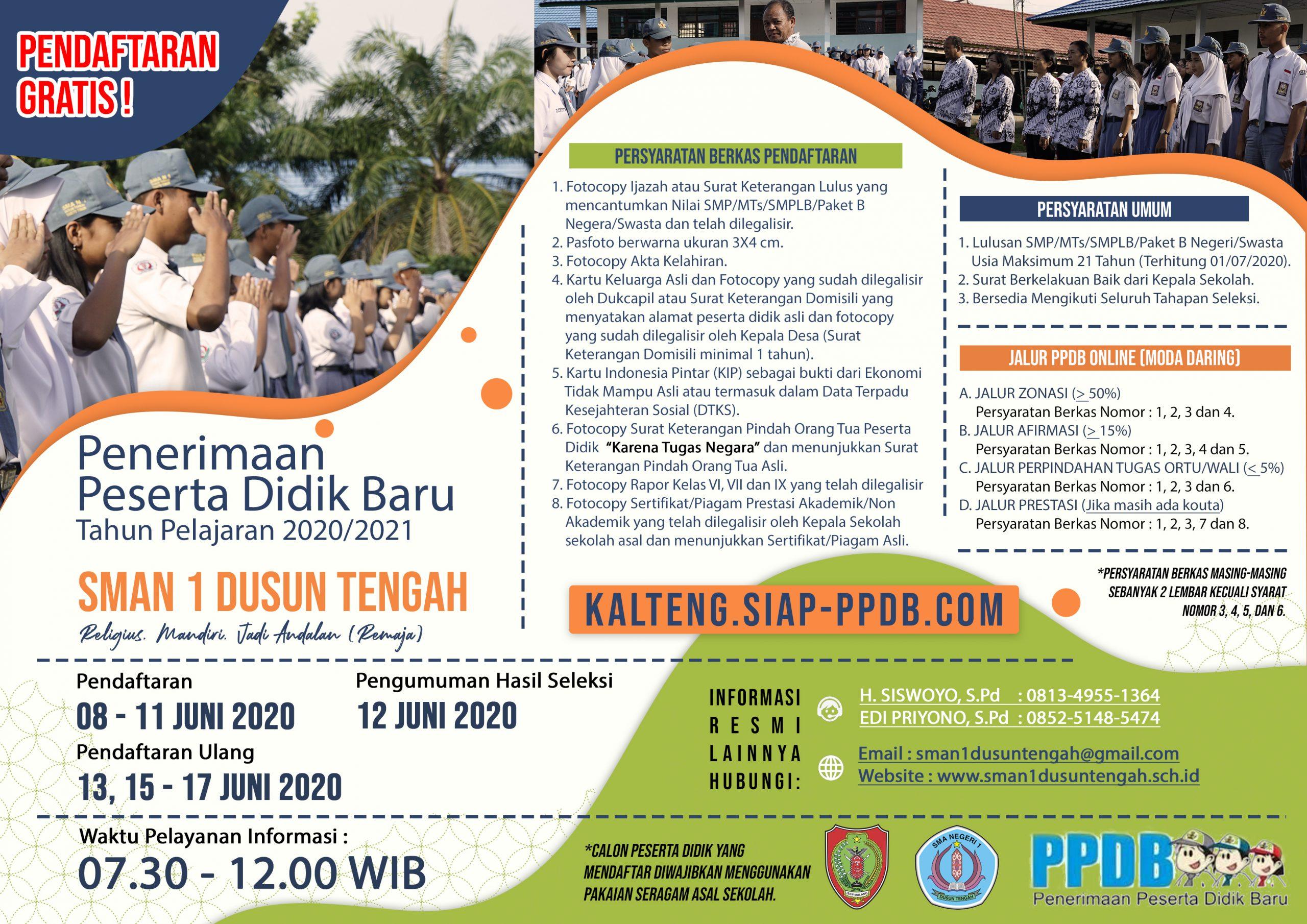 Penerimaan Peserta Didik Baru (PPDB) Online SMAN 1 Dusun Tengah Tahun Pelajaran 2020/2021