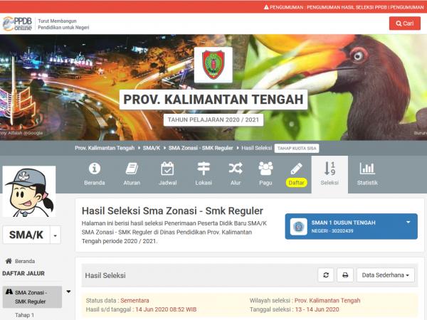 Hasil Seleksi Pendaftaran Peserta Didik Baru Online (Jalur Zonasi Sisa Kouta) SMAN 1 Dusun Tengah Tahun Pelajaran 2020/2021