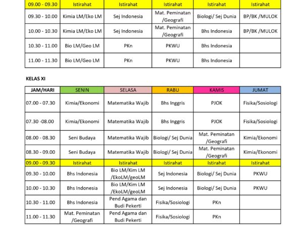 Jadwal PJJ TAHUN PELAJARAN 2021 - 2022